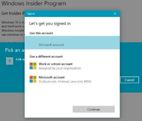Windows Insider Program - Link Microsoft Account