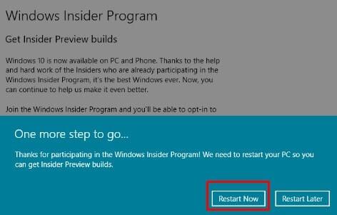 Windows Insider Program - Restart