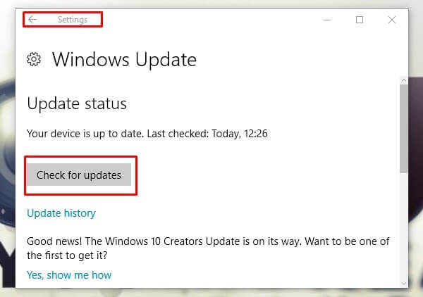 Windows Update - Check for Update