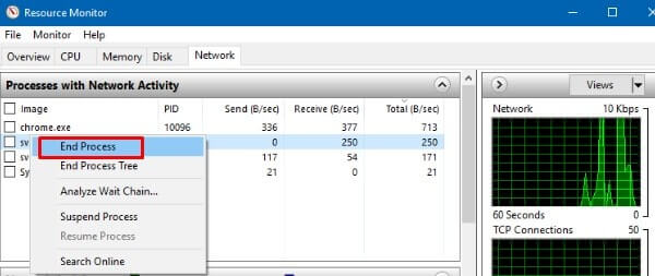 Check Network Activity - Windows 10 Slow Internet