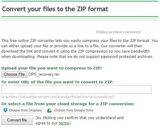 Convert RAR file into Zip format.