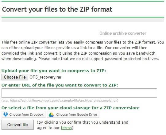 Convert RAR file into Zip format.