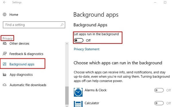 Disable Background Apps - Windows 10 Slow Internet
