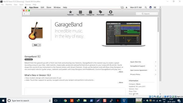 Install MacOS on Windows and get GarageBand.