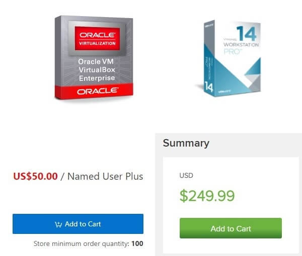 Pricing - VMware vs VirtualBox.