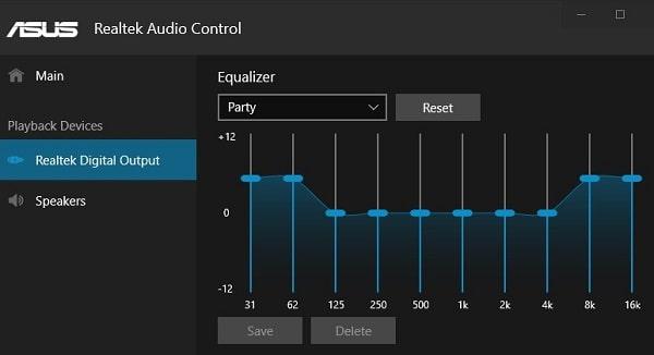 Realtek Audio Console - Windows 10 Equalizer