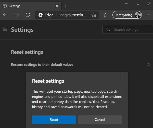 Reset Microsoft Edge Browser