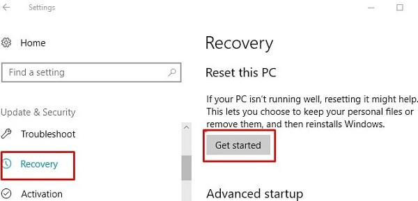 Reset this PC.