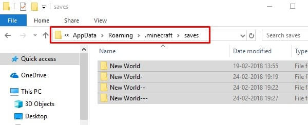 Create Backup of your Minecraft Worlds