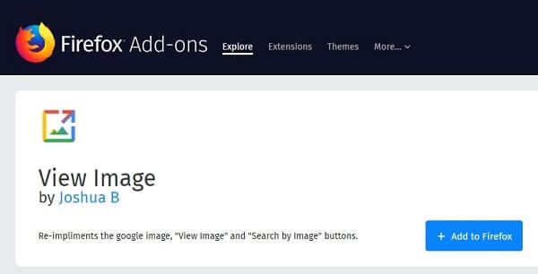 Firefox View Image Add-on