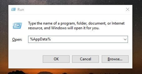 Open AppData folder using Run