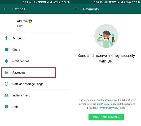 Payment Option in Settings.