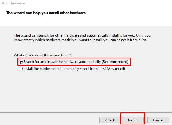 Search for and Install the driver