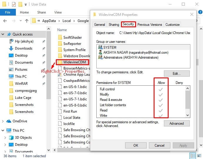 WidevineCDM Folder Properties