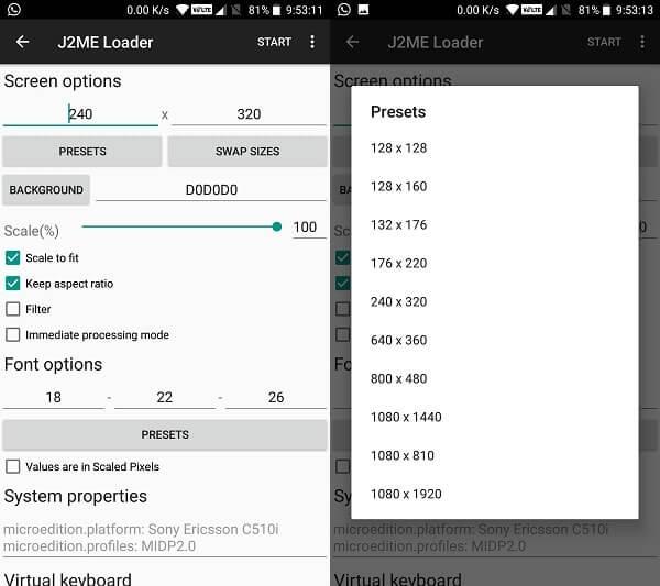 J2ME loader screen options