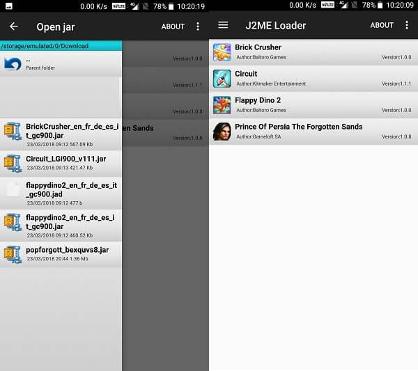 J2ME loader select Game