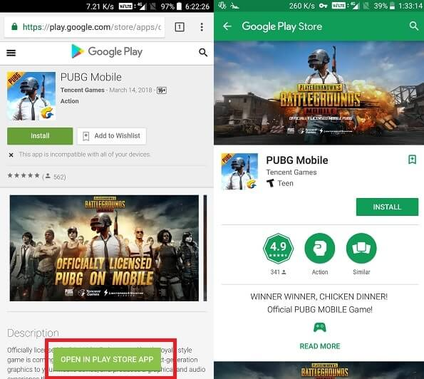 Open in Play Store App