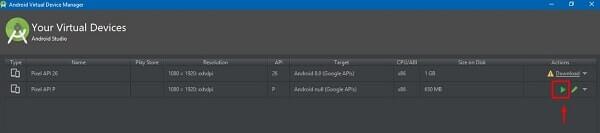 Run Android P Emulator