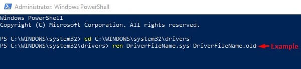 irql_not_less_or_equal windows 10 Rename Driver File Name