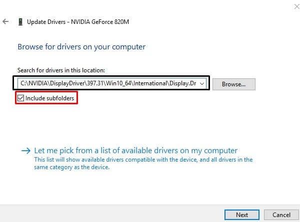 Update Graphics Driver using Device Manager