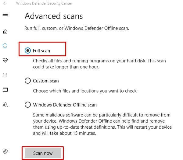 Virus Scan through Windows Defender