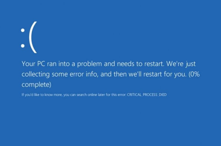 windows 10 critical process died