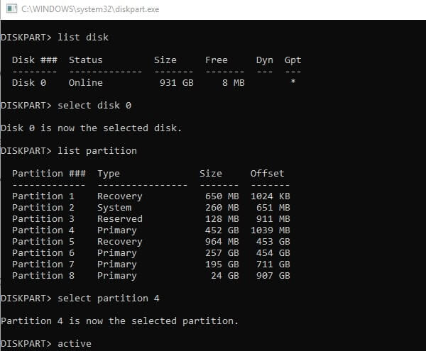 Make Primary Partition Active
