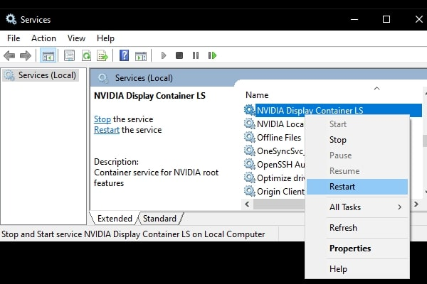 Restart NVIDIA Display Container Service