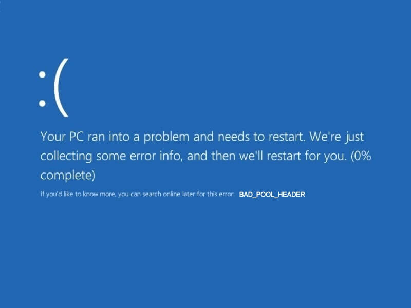 bad pool header Windows 10