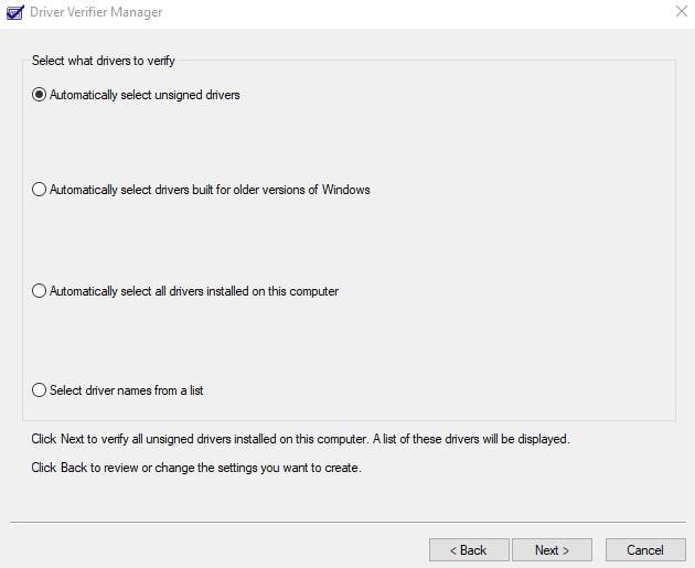 bad pool header Windows 10 Driver Verifier Manager