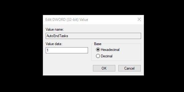 Enable AutoEndTasks and Kill Elara App