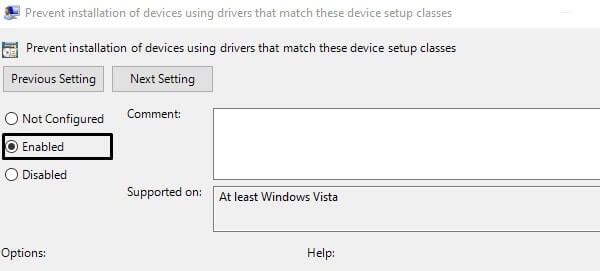 Enable Prevent installation of devices