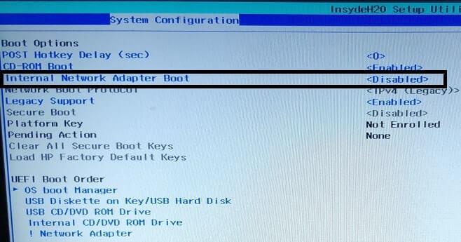 Internal Network Adapter Boot