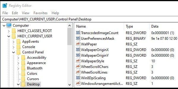 Open Desktop Directory - Registry Editor