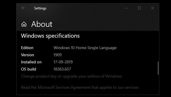 Windows OS Build - Windows Specifications