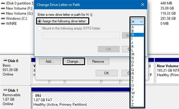 Assign a new drive letter-min