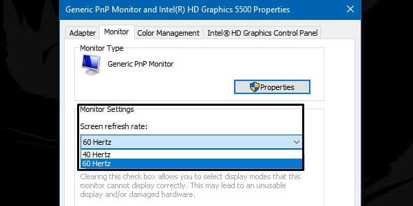 Change screen refresh rate
