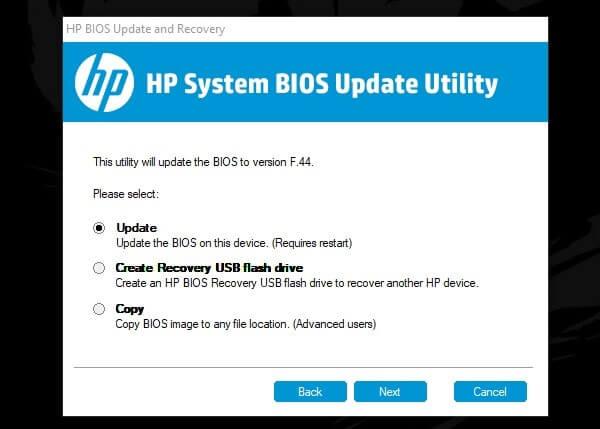 Click on UPDATE BIOS
