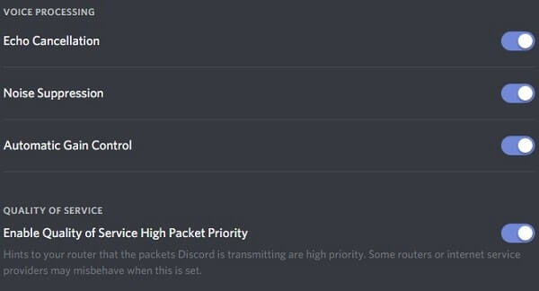 Discord Voice Processing options