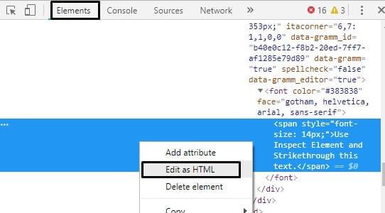 Edit as HTML - Strikethrough