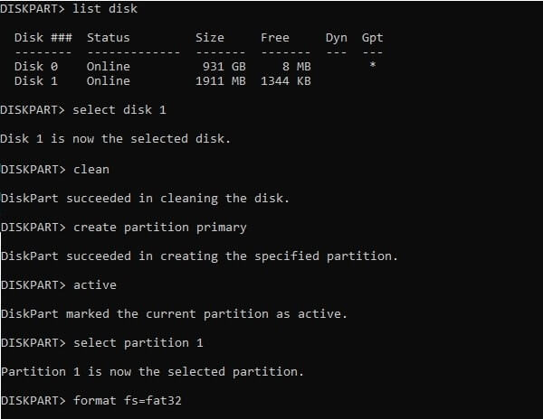 Format SD Card using CMD