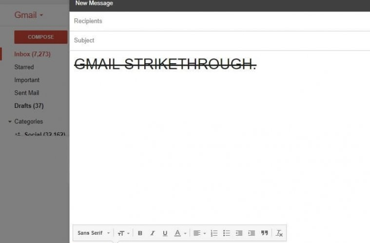 Gmail Strikethrough