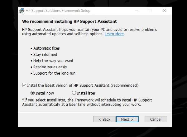 HP Support Solutions Framework