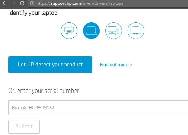 Let HP detect your product