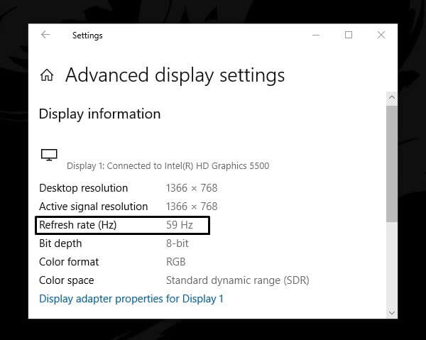 Monitor refresh rate