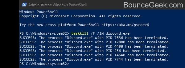Terminate Discord Processes using Command