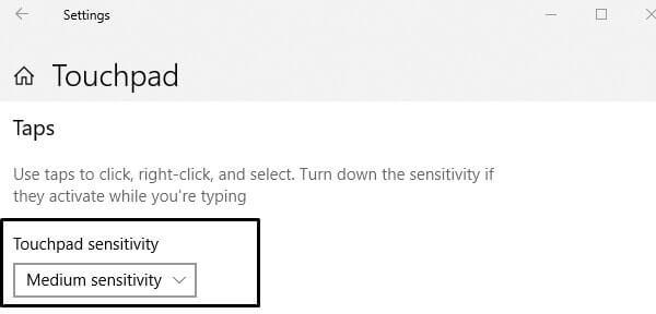 Touchpad sensitivity