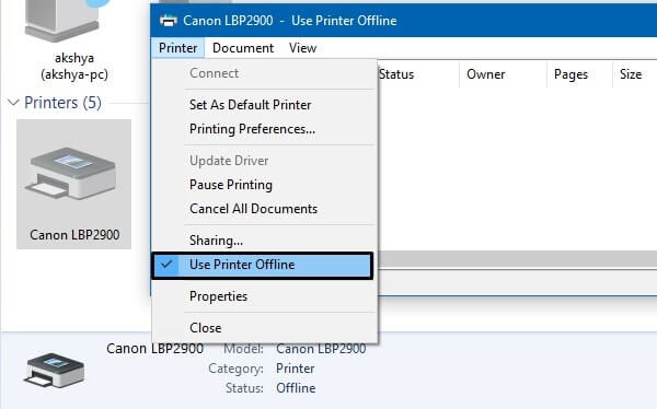 Use Printer Offline