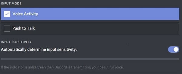 Voice Activity - Discord Input mode