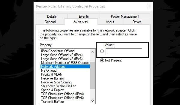Ethernet Unidentified Network - Add Network Address